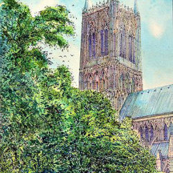 A view of the central Tower, Lincoln Cathedral