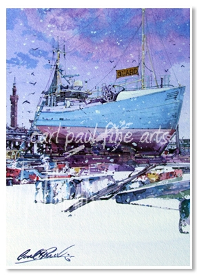 Dry Dock, Grimsby, Starting to snow