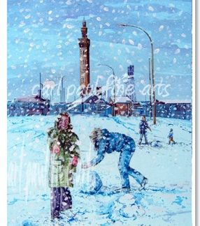 Playing in the snow (Grimsby Docks)