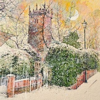 Snow storm, Old Clee Church, Grimsby