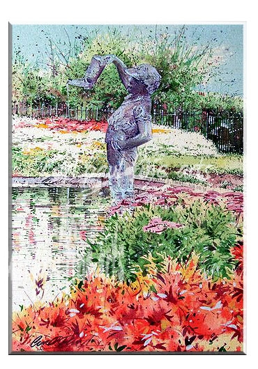 Boy with a leaking boot, Flower garden