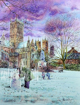 Building a snowman, Cathedral green, Lincoln