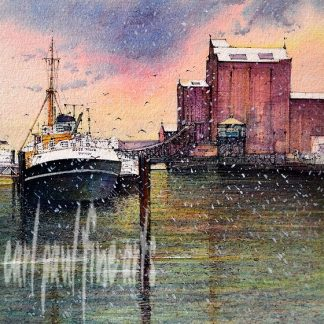 Ross Tiger, Flour mill, Winters Night, Grimsby