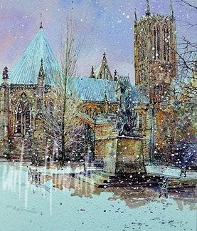 Tennyson, Cathedral Green, Lincoln. First Snowfall