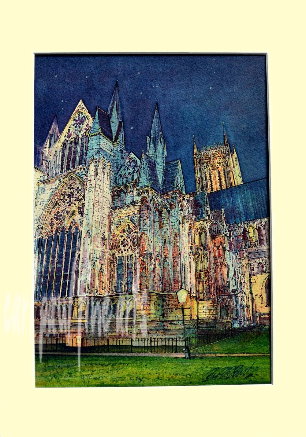 Lincoln Cathedral, Floodlit Night sky Original