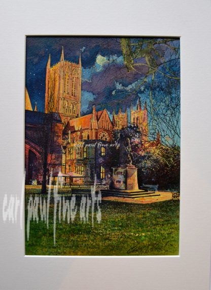 Floodlit Cathedral green Lincoln Cathedral